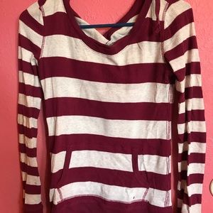 Maroon striped long sleeved shirt